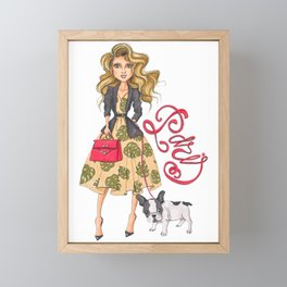 Girl with Bulldog Framed Mini Art Print