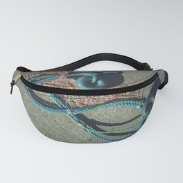 Fishnet with two buoys on rope. Nautical marine concept. Fanny Pack