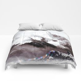 Panoramic View Of Everest Mountain Painting Comforters
