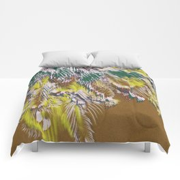 feather texture in yellow and green Comforters