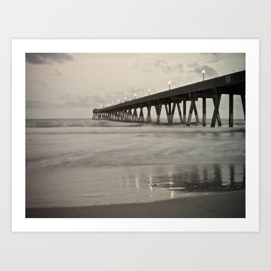 Clouds at Dusk Johnny Mercer's Pier Wrightsville Beach, NC Art Print