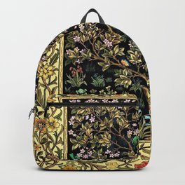 William Morris Northern Garden with Daffodils, Dogwood, & Calla Lily Floral Textile Print Backpack