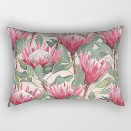 Painted King Proteas on cream Rectangular Pillow