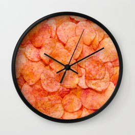 Ketchup Potato Chips Snack Food Photo Pattern  Wall Clock