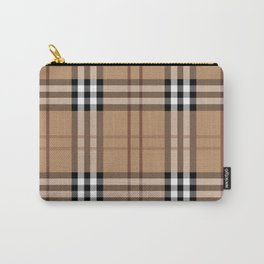 Classic Vintage Brown Check  Tartan Carry-All Pouch