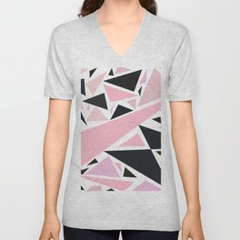 Artistic pink black abstract triangles pattern Unisex V-Neck