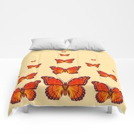 ORANGE MONARCH BUTTERFLIES CREAMY YELLOW Comforters