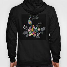Boho-style peacock with black background Hoody