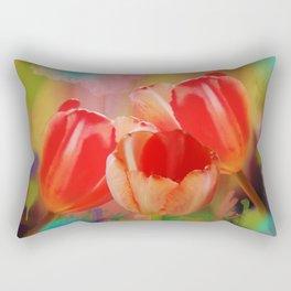 Three tulips, mixed media art Rectangular Pillow