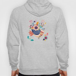 With Flowers On Her Feathers She Flies Freely Hoody