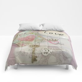 Shabby Chic Love Romantic Decor - Love Skeleton Key Prints Home Decr Comforters