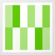 Green and White Gradient Blocks Art Print