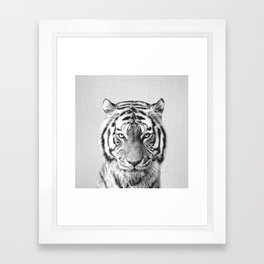 Tiger - Black & White Framed Art Print