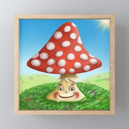 Happy Fly Agaric in the sunny day Framed Mini Art Print