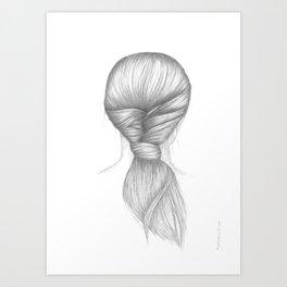 BRAID II - pencil illustration Art Print
