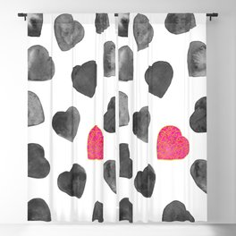 One heart in a million black and pink Blackout Curtain