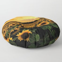 Sunflower field Floor Pillow