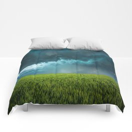 April Showers - Colorful Stormy Sky Over Lush Field in Kansas Comforters