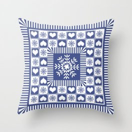 Hearts and Snowflakes Blue and White Throw Pillow