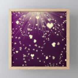 small colored hearts flying white heart in dark purple sunshine Framed Mini Art Print