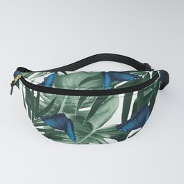 Tropical Butterfly Jungle Leaves Pattern #1 #tropical #decor #art #society6 Fanny Pack
