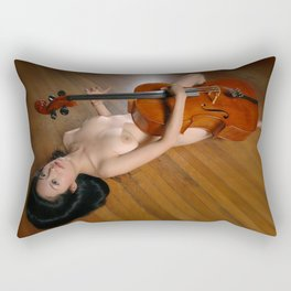 0149-JC Nude Cellist with Her Cello and Bow Naked Young Woman Musician Art Sexy Erotic Sweet Sensual Rectangular Pillow