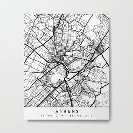 ATHENS GREECE BLACK CITY STREET MAP ART Metal Print
