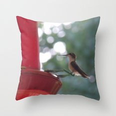 Hummingbird w/ bokeh Throw Pillow