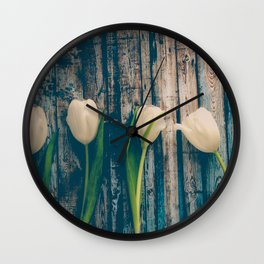 White Easter Tulip Flowers on Wooden Blue Old Planks Wall Clock