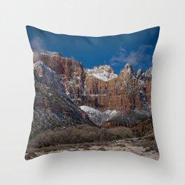 Zion Winter 4720 - National Park, Utah Throw Pillow