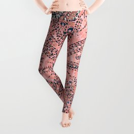 Light Pink Wildflower Sunshine II // 18th Century Colorful Pinkish Dusty Blue Gray Positive Pattern Leggings