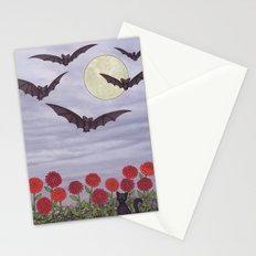 bats, zinnias, and black cat Stationery Cards