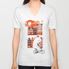 Happy Ghost Biking Through Amsterdam Unisex V-Neck