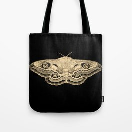 Gold moth on black Tote Bag