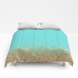 Sparkling gold glitter confetti on aqua teal damask background Comforters