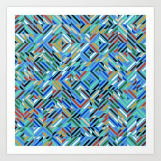 Colorful Random Diagonal Lines Grid Art Print