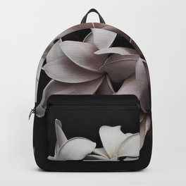 In the pink blossoms and petals black and white photography / photograph Backpack