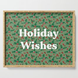 Frosty Holly and Berries Pattern [LIGHT GREEN] Serving Tray