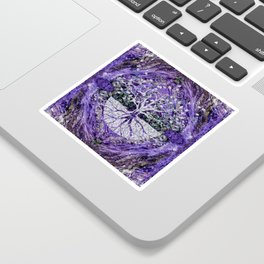 Silver Tree of Life Yggdrasil on Amethyst Geode Sticker