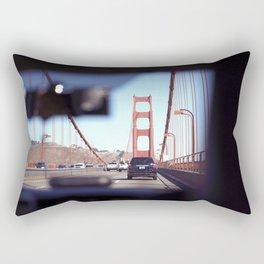 From the Backseat, Driving Across the Golden Gate Rectangular Pillow