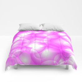 Gentle intersecting pink translucent circles in pastel colors with a crimson glow. Comforters