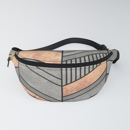 Abstract Chevron Pattern - Concrete and Copper Fanny Pack