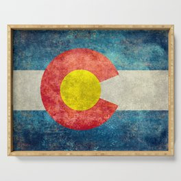 Colorado flag with Grungy Textures Serving Tray