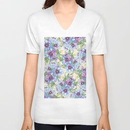 Big Blue Poppies Unisex V-Neck