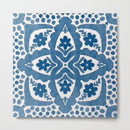 Indigo Blue Folk Art Dutch Delft Metal Print