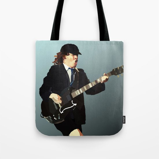 Low Polygon Portrait of Angus Young Tote Bag