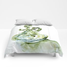 Green Depression Glass WaterColour by CheyAnne Sexton Comforters