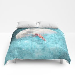 FLOATING TO THE MOON Comforters