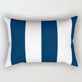 Wide Vertical Stripes - White and Oxford Blue Rectangular Pillow