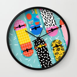 Omigod - 80s retro memphis skateboards pattern sports trendy 1980's vintage style retro Wall Clock